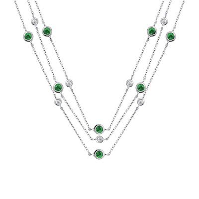 GENUINE 1.15 ctw DIAMOND and EMERALD  NECKLACE 14K WHIT