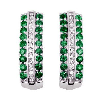 GENUINE 0.85 ctw DIAMOND and EMERALD EARRINGS 14K WHITE