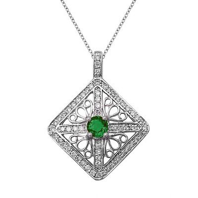 GENUINE 0.55 ctw DIAMOND and EMERALD  PENDANT 14K WHITE