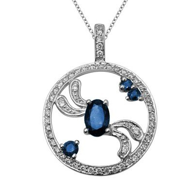 GENUINE 0.75 ctw DIAMOND and BLUE SAPPHIRE PENDANT 14K