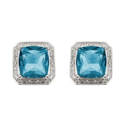 GENUINE 4.85 ctw DIAMOND and BLUE TOPAZ EARRINGS 14K WH