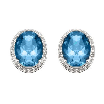 GENUINE 9.75 ctw DIAMOND and BLUE TOPAZ EARRINGS 14K WH