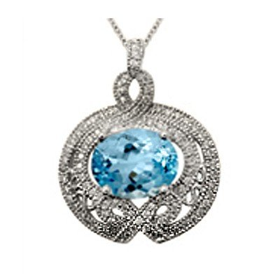 GENUINE 4.94 ctw DIAMOND and BLUE TOPAZ PENDANT 14K WHI