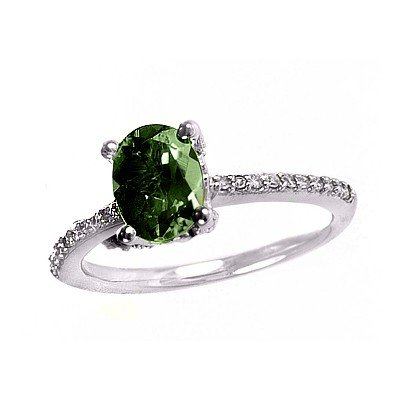 GENUINE 1.6 ctw DIAMOND and EMERALD RING 14K WHITE GOLD