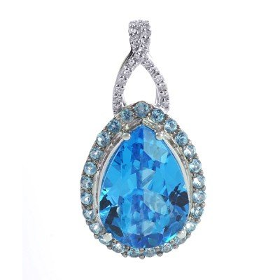 GENUINE 12.11 ctw DIAMOND and BLUE TOPAZ PENDANT 14K WH