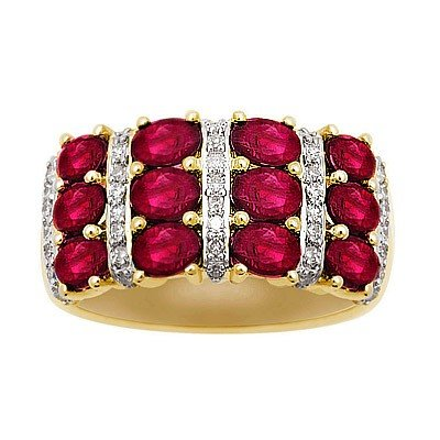 GENUINE 3 ctw DIAMOND and RUBY RING 14K YELLOW GOLD