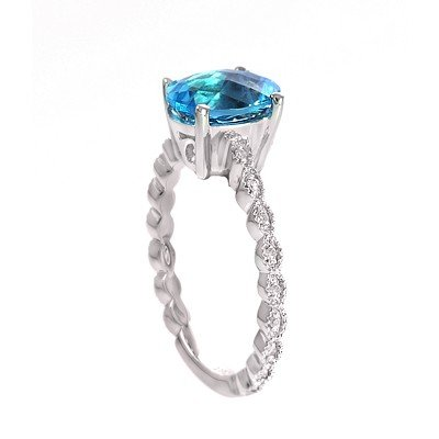 GENUINE 2.4 ctw DIAMOND and BLUE TOPAZ RING 14K WHITE G