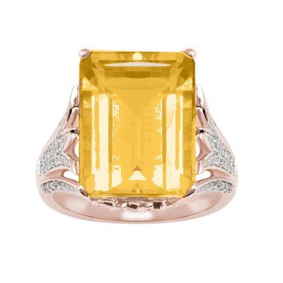GENUINE 11.6 ctw DIAMOND and CITRINE RING 14K ROSE GOLD