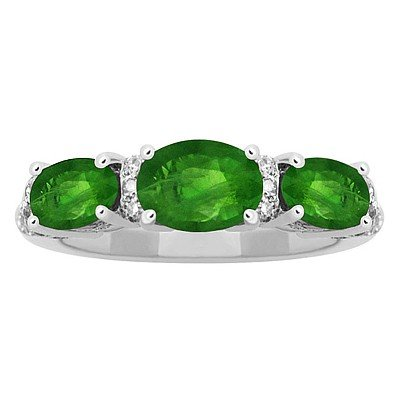 GENUINE 1.97 ctw DIAMOND and EMERALD RING 14K WHITE GOL