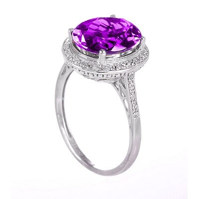 GENUINE 4.63 ctw DIAMOND and AMETHYST RING 14K WHITE GO