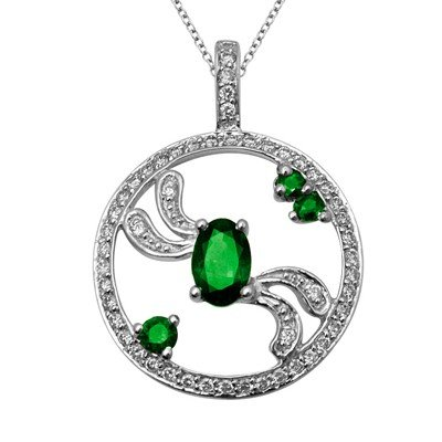 GENUINE 0.75 ctw DIAMOND and EMERALD  PENDANT 14K WHITE