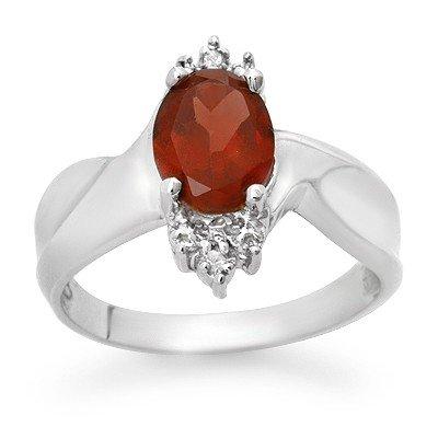 Genuine 1.61 ctw Garnet & Diamond Ring 10K White Gold