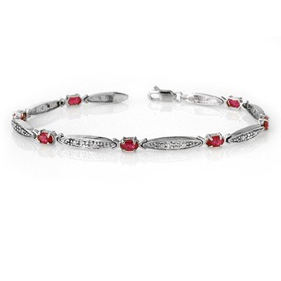 Genuine 2.75 ctw Ruby & Diamond Bracelet 10K White Gold