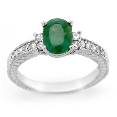 Genuine 2.14 ctw Emerald & Diamond Ring 14K White Gold
