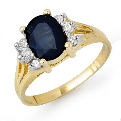 Genuine 2.14ctw Sapphire & Diamond Ring 14K Yellow Gold