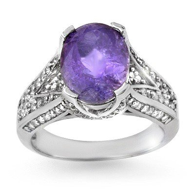 Genuine 4.7ct Tanzanite & Diamond Ring 14K White Gold