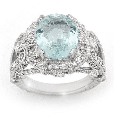 Genuine 6.50 ctw Aquamarine & Diamond Ring 14K Gold