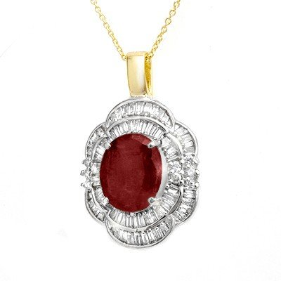 Genuine 6.0 ctw Ruby & Diamond Pendant Yellow Gold