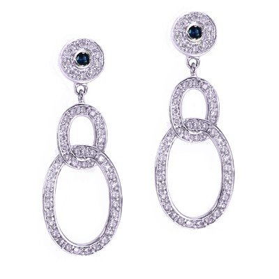 GENUINE 0.56 ctw DIAMOND and BLUE SAPPHIRE EARRINGS 14K