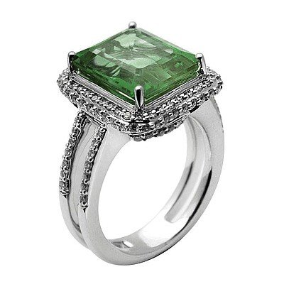 GENUINE 6.1 ctw DIAMOND and GREEN AMETHYST RING 14K WHI