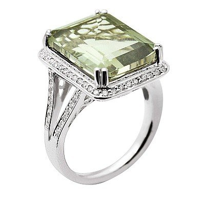GENUINE 11.35 ctw DIAMOND and GREEN AMETHYST RING 14K W