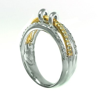 GENUINE 0.29 ctw DIAMOND and RING 14K 2TONE GOLD