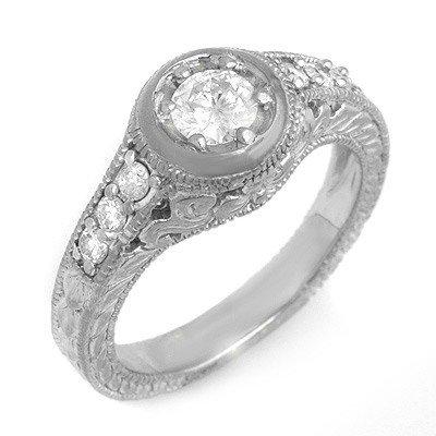 Natural 0.70 ctw Diamond Ring 14K White Gold