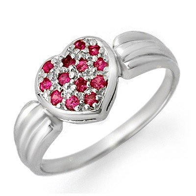 Genuine 0.40 ctw Pink Sapphire Ring 14K White Gold