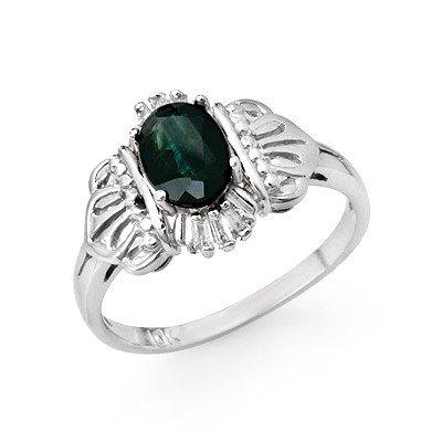 Genuine 1.04 ctw Sapphire & Diamond Ring 10K White Gold