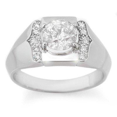 Natural 1.65 ctw Diamond Men's Ring 10K White Gold