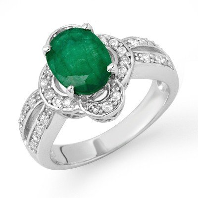 Genuine 2.95 ctw Emerald & Diamond Ring 14K White Gold
