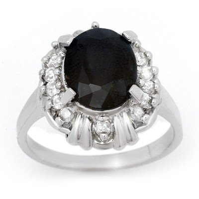 Genuine 3.83 ctw Sapphire & Diamond Ring 10K White Gold