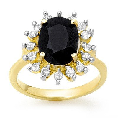 Genuine 3.67 ctw Sapphire & Diamond Ring 10K Yellow Gol