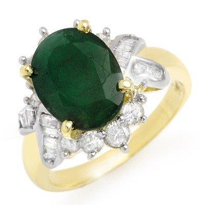Genuine 3.27 ctw Emerald & Diamond Ring 14K Yellow Gold