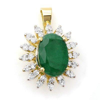Genuine 6.21 ctw Emerald & Diamond Pendant Yellow Gold