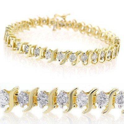 Natural 8.0 ctw Diamond Bracelet 14K Yellow Gold
