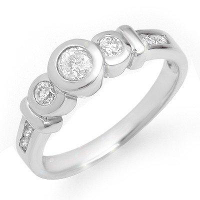 Natural 0.55 ctw Diamond Ring 14K White Gold