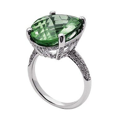 GENUINE 16.6 ctw DIAMOND and GREEN AMETHYST RING 14K WH