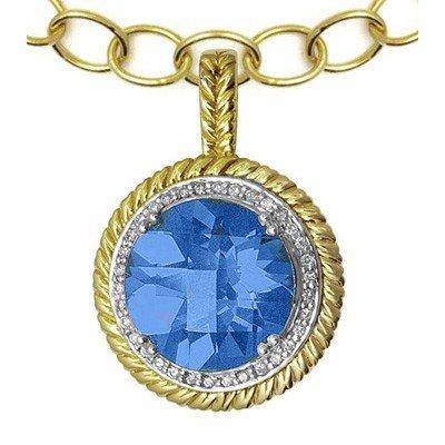 GENUINE 9.18 ctw DIAMOND and BLUE TOPAZ PENDANT 14K YEL