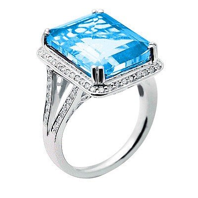 GENUINE 11.35 ctw DIAMOND and BLUE TOPAZ RING 14K WHITE