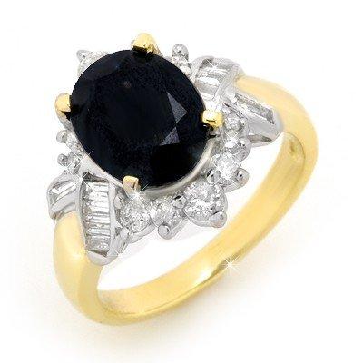 Genuine 4.4 ctw Sapphire & Diamond Ring 14K Yellow Gold