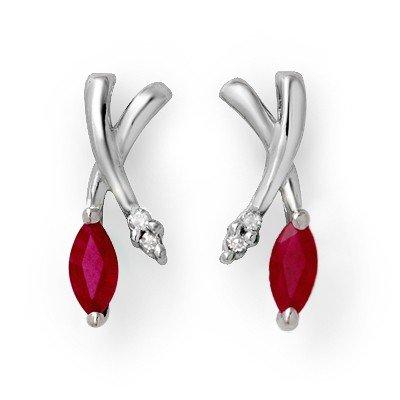 Genuine 0.75 ctw Ruby & Diamond Earrings White Gold