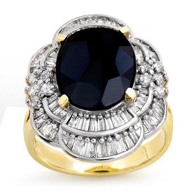 Genuine 7.85 ctw Sapphire & Diamond Ring 14K Yellow Gol