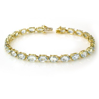 Genuine 12 ctw Aquamarine Bracelet 10K Yellow Gold