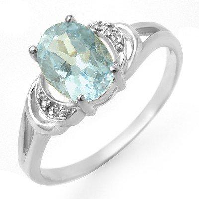 Genuine 1.06 ctw Blue Topaz & Diamond Ring 10K Gold