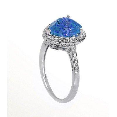 GENUINE 3.13 ctw DIAMOND and BLUE TOPAZ RING 14K WHITE