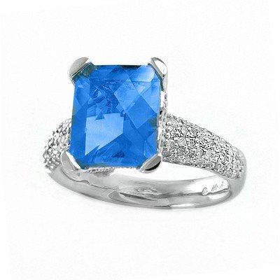 GENUINE 4.77 ctw DIAMOND and BLUE TOPAZ RING 14K WHITE