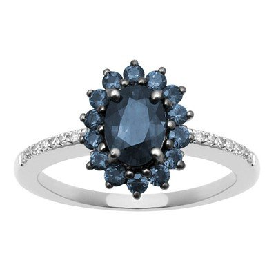 GENUINE 1.38 ctw DIAMOND and BLUE SAPPHIRE RING 14K WHI