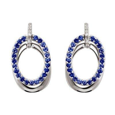 GENUINE 1 ctw BLUE SAPPHIRE EARRINGS 14K WHITE GOLD