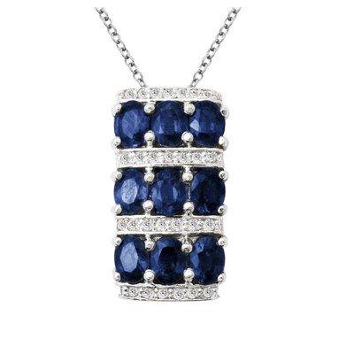 GENUINE 2.45 ctw DIAMOND and BLUE SAPPHIRE PENDANT 14K
